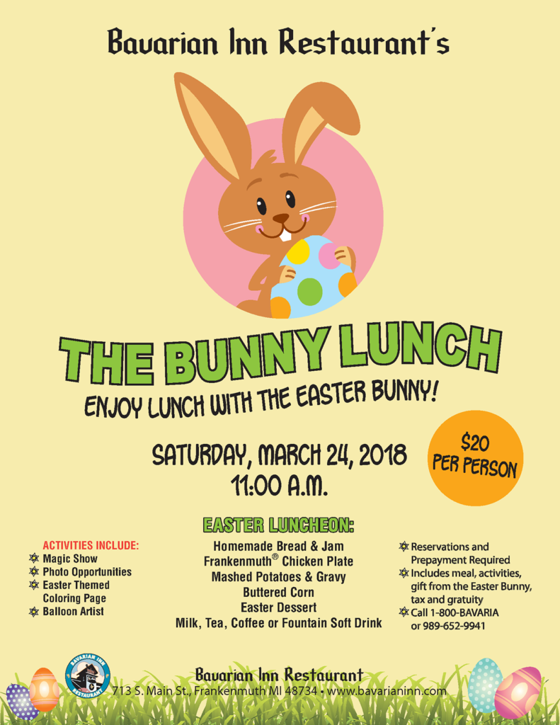 Enjoy Lunch With The Easter Bunny Activities Include A Magic Show Photo Opportunities And Balloon Artist Reservations Prepayment Required